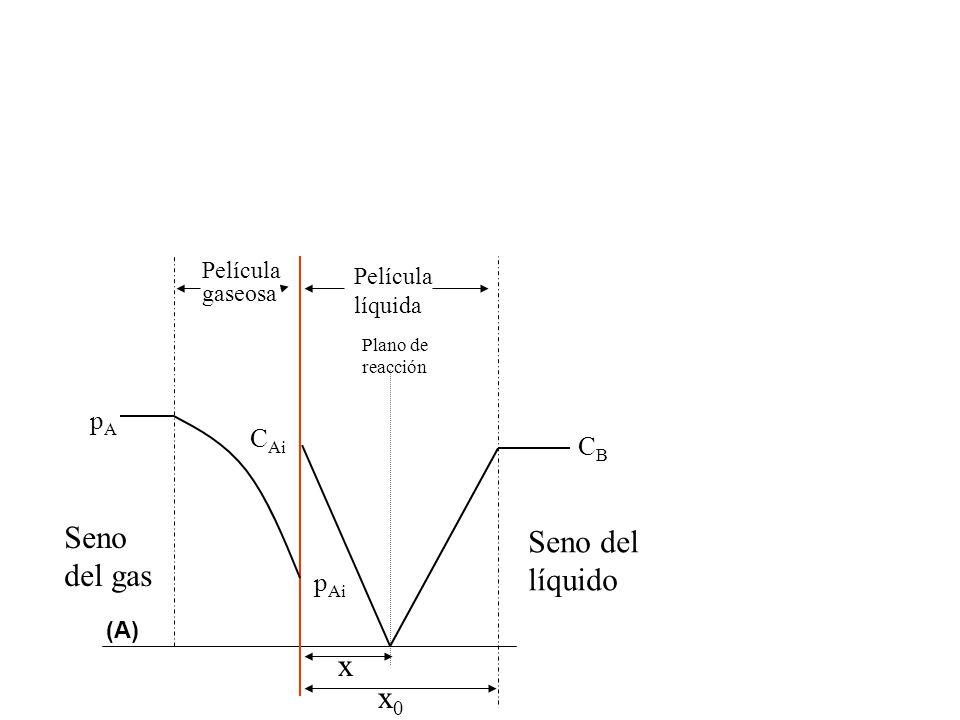 Seno Seno del del gas líquido x x0 pA CAi CB pAi Película gaseosa