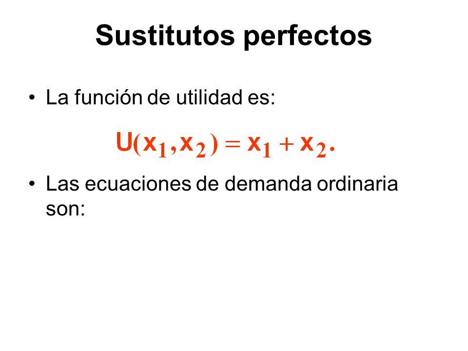 Sustitutos perfectos La función de utilidad es: