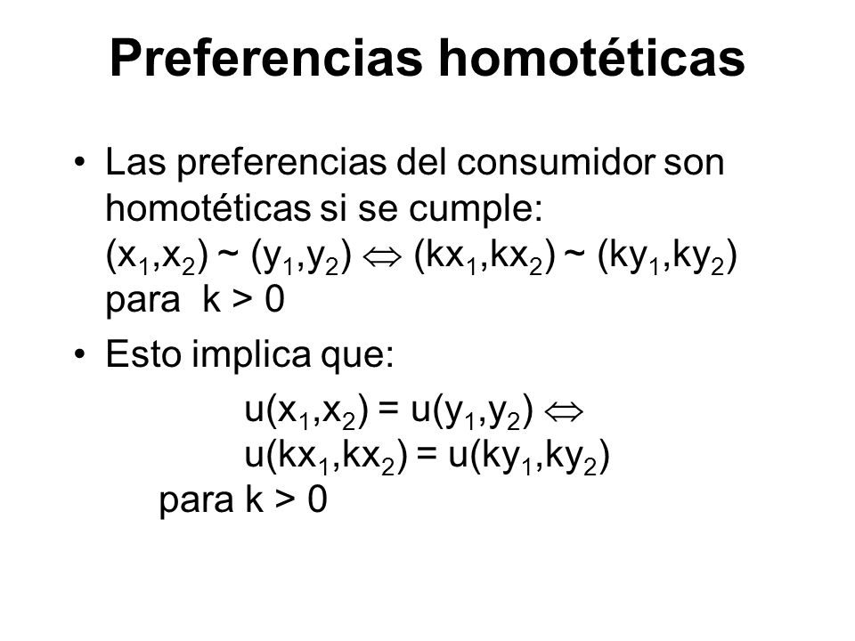 Preferencias homotéticas