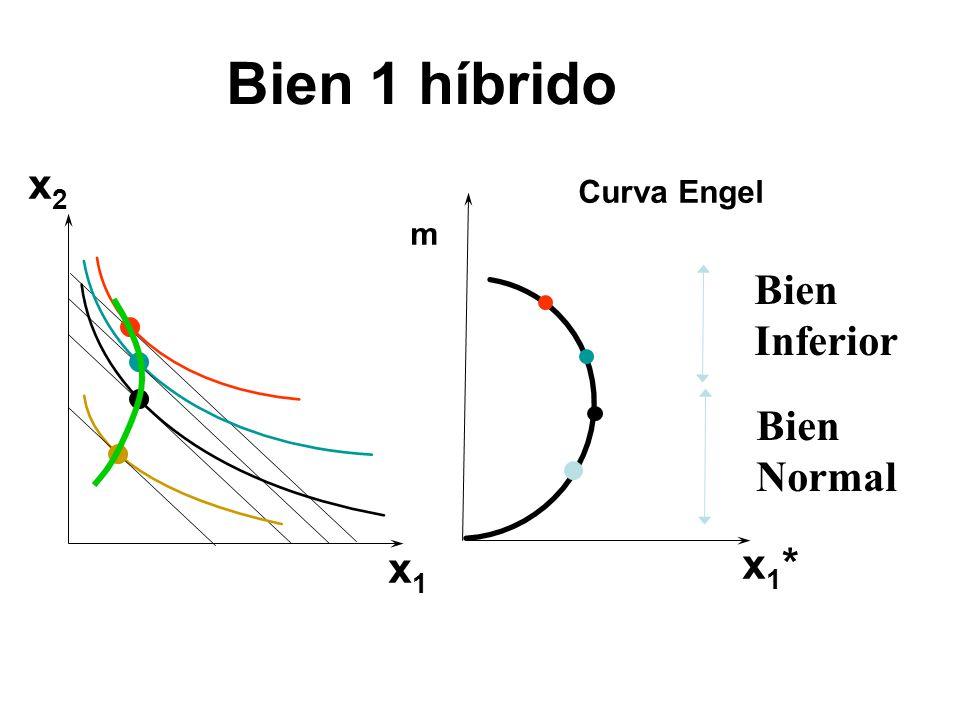 Bien 1 híbrido x2 Curva Engel m Bien Inferior Bien Normal x1 x1*