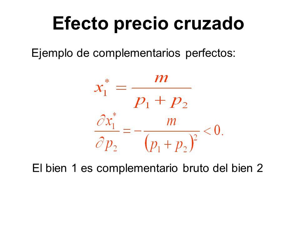 Efecto precio cruzado Ejemplo de complementarios perfectos: