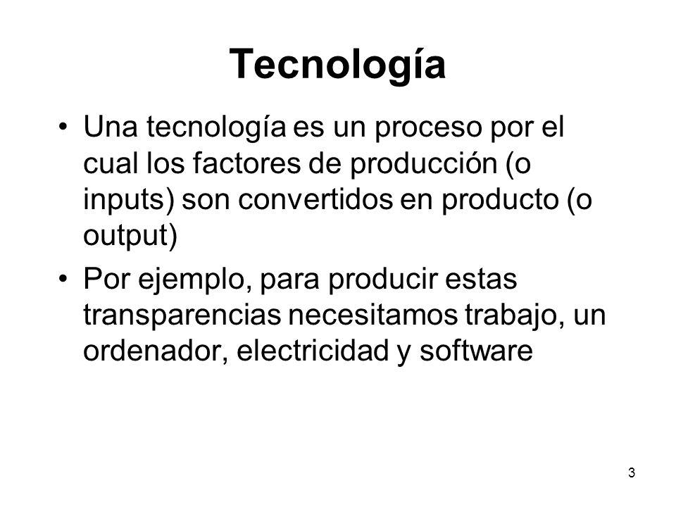 Tecnología Una tecnología es un proceso por el cual los factores de producción (o inputs) son convertidos en producto (o output)