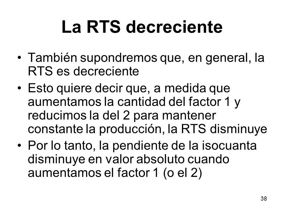 La RTS decreciente También supondremos que, en general, la RTS es decreciente.