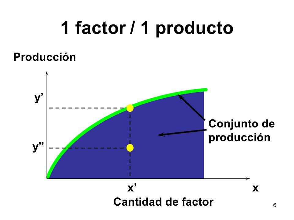 1 factor / 1 producto Producción y' Conjunto de producción y x' x