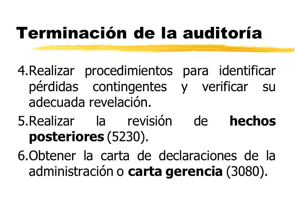 Terminación de la auditoría