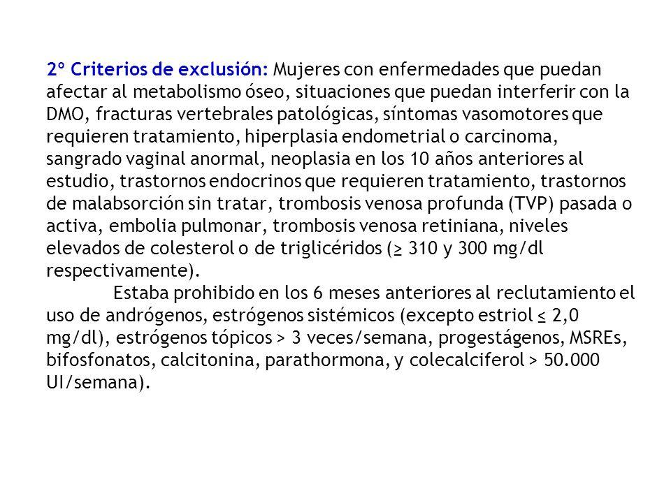 2º Criterios de exclusión: Mujeres con enfermedades que puedan afectar al metabolismo óseo, situaciones que puedan interferir con la DMO, fracturas vertebrales patológicas, síntomas vasomotores que requieren tratamiento, hiperplasia endometrial o carcinoma, sangrado vaginal anormal, neoplasia en los 10 años anteriores al estudio, trastornos endocrinos que requieren tratamiento, trastornos de malabsorción sin tratar, trombosis venosa profunda (TVP) pasada o activa, embolia pulmonar, trombosis venosa retiniana, niveles elevados de colesterol o de triglicéridos (≥ 310 y 300 mg/dl respectivamente).
