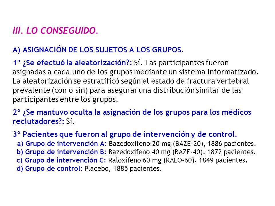 III. LO CONSEGUIDO. A) ASIGNACIÓN DE LOS SUJETOS A LOS GRUPOS