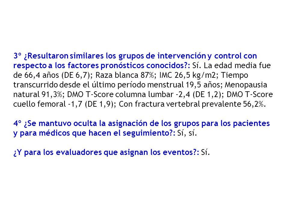 3º ¿Resultaron similares los grupos de intervención y control con respecto a los factores pronósticos conocidos : Sí.