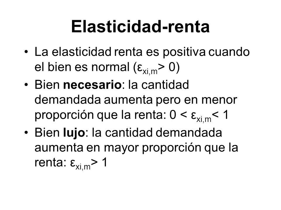 Elasticidad-renta La elasticidad renta es positiva cuando el bien es normal (εxi,m> 0)