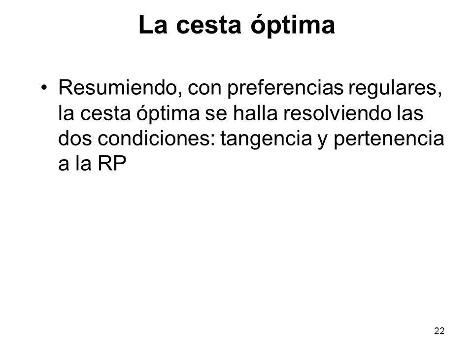 La cesta óptima Resumiendo, con preferencias regulares, la cesta óptima se halla resolviendo las dos condiciones: tangencia y pertenencia a la RP.