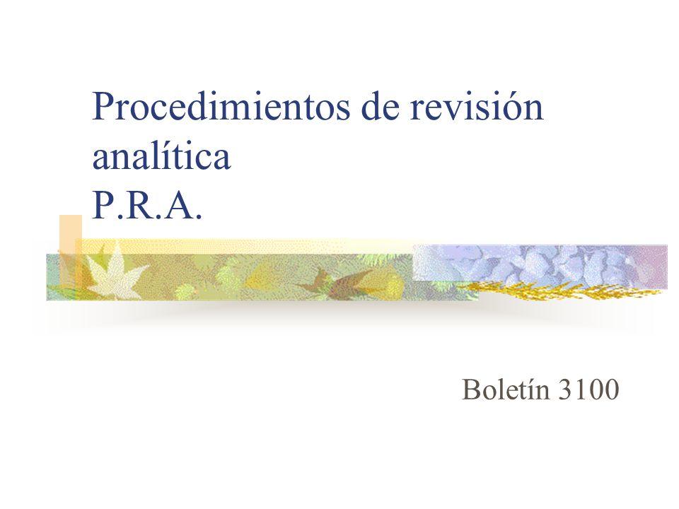 Procedimientos de revisión analítica P.R.A.