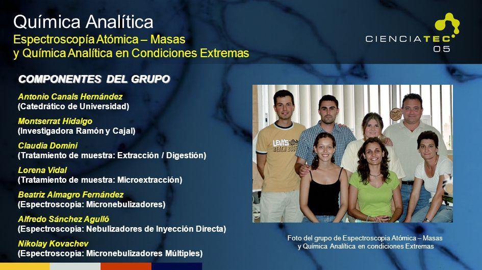 Química Analítica Espectroscopía Atómica – Masas y Química Analítica en Condiciones Extremas. COMPONENTES DEL GRUPO.