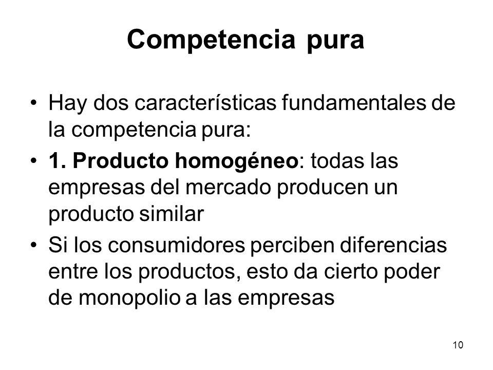 Competencia pura Hay dos características fundamentales de la competencia pura: