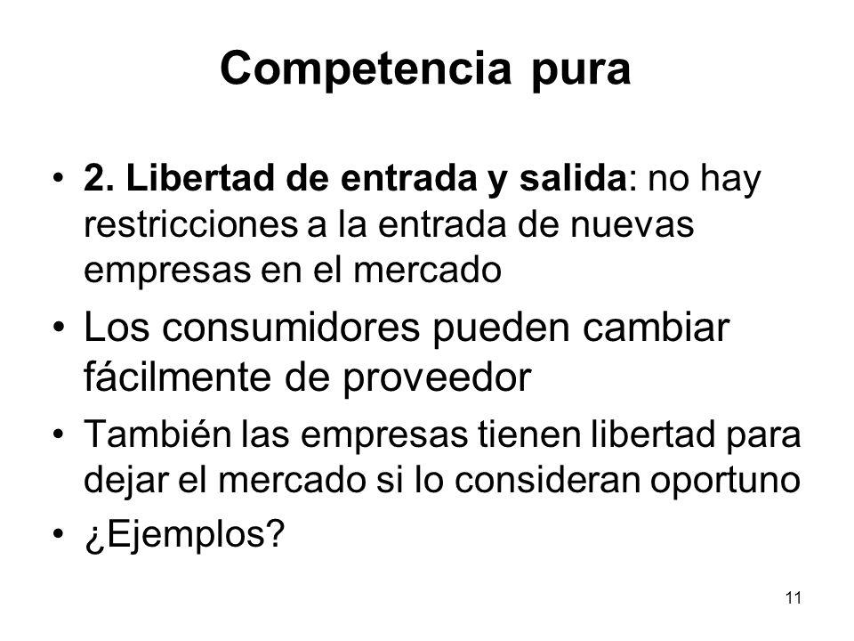 Competencia pura 2. Libertad de entrada y salida: no hay restricciones a la entrada de nuevas empresas en el mercado.