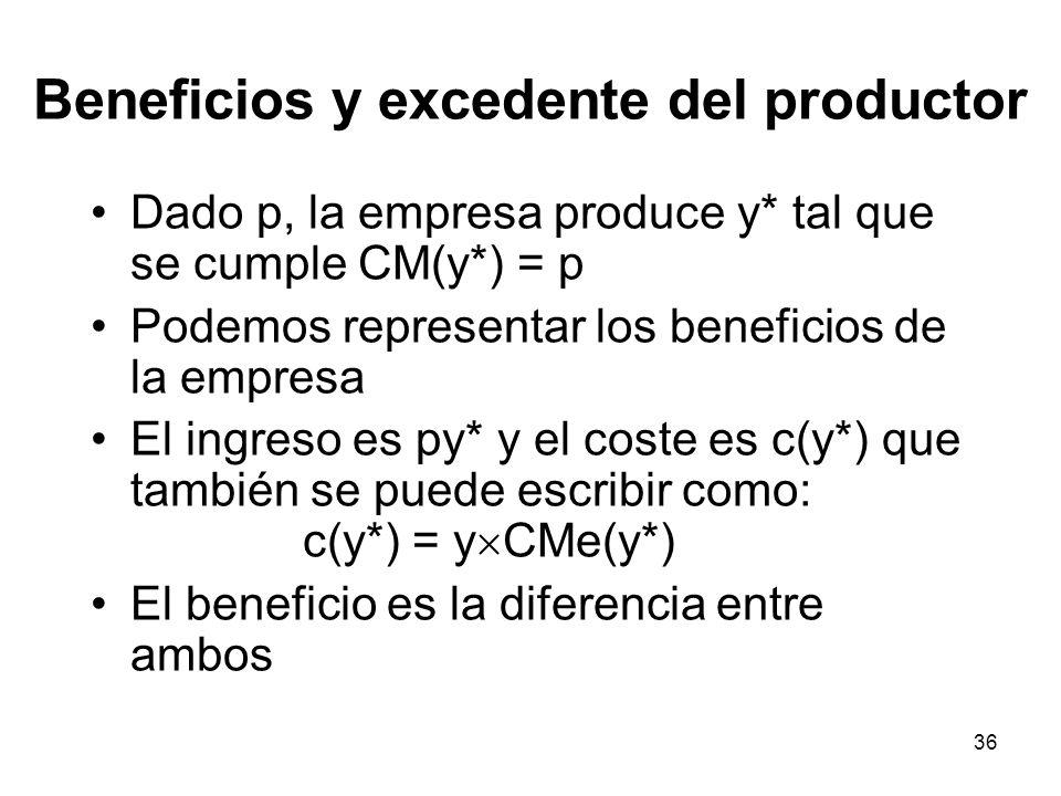 Beneficios y excedente del productor