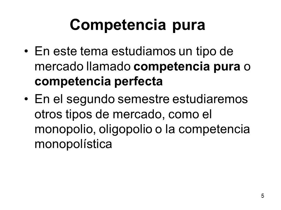 Competencia pura En este tema estudiamos un tipo de mercado llamado competencia pura o competencia perfecta.
