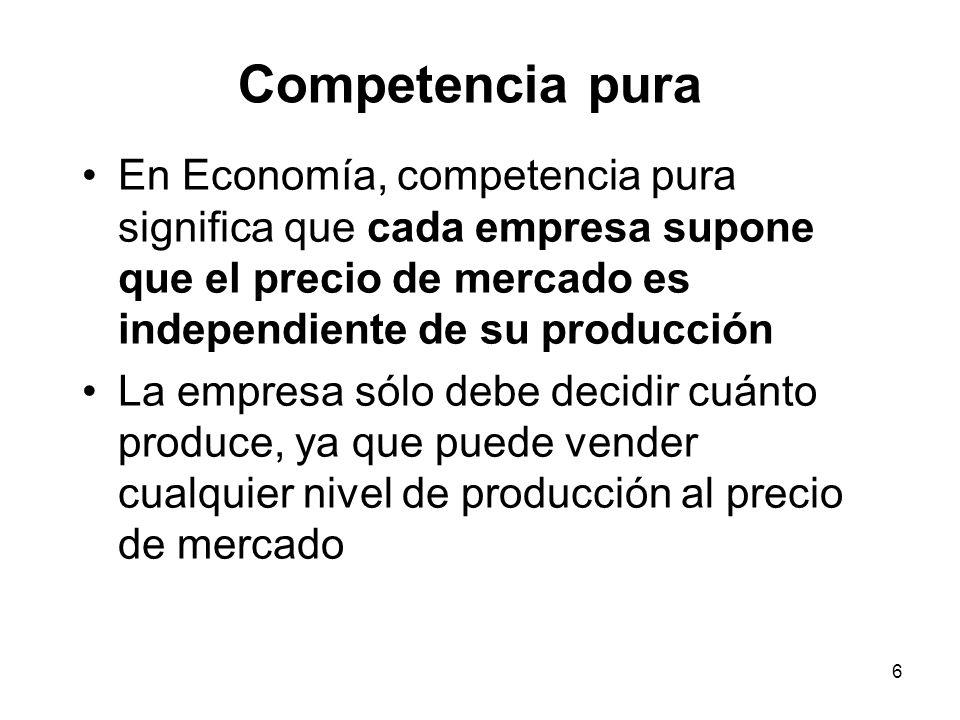 Competencia pura En Economía, competencia pura significa que cada empresa supone que el precio de mercado es independiente de su producción.