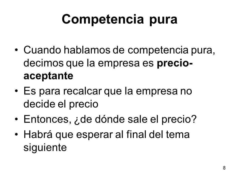 Competencia pura Cuando hablamos de competencia pura, decimos que la empresa es precio-aceptante.