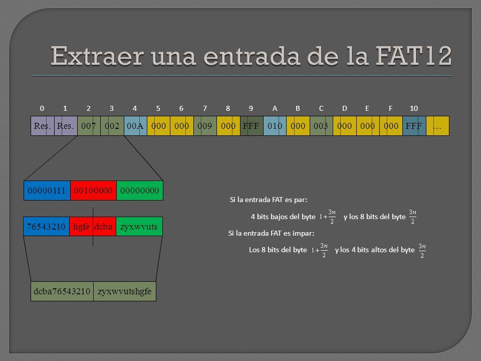 Extraer una entrada de la FAT12