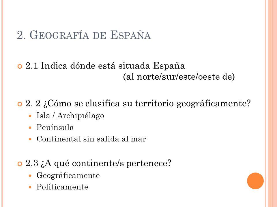 2. Geografía de España 2.1 Indica dónde está situada España (al norte/sur/este/oeste de)