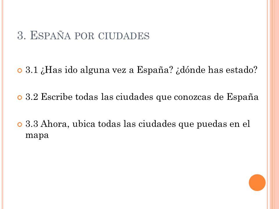 3. España por ciudades 3.1 ¿Has ido alguna vez a España ¿dónde has estado 3.2 Escribe todas las ciudades que conozcas de España.