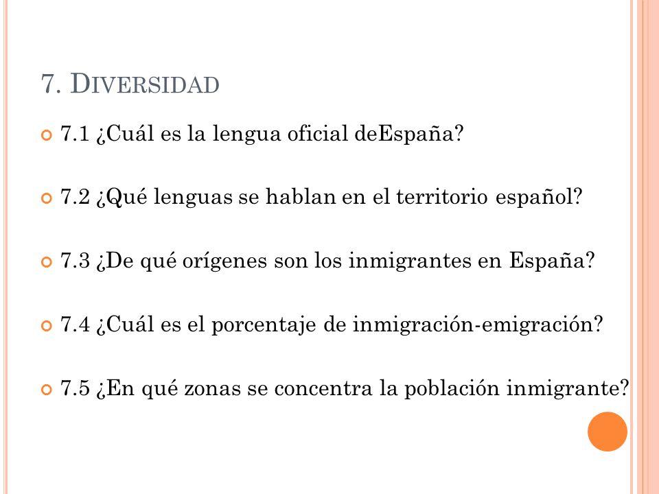 7. Diversidad 7.1 ¿Cuál es la lengua oficial deEspaña
