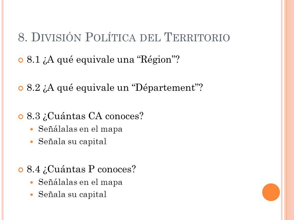 8. División Política del Territorio