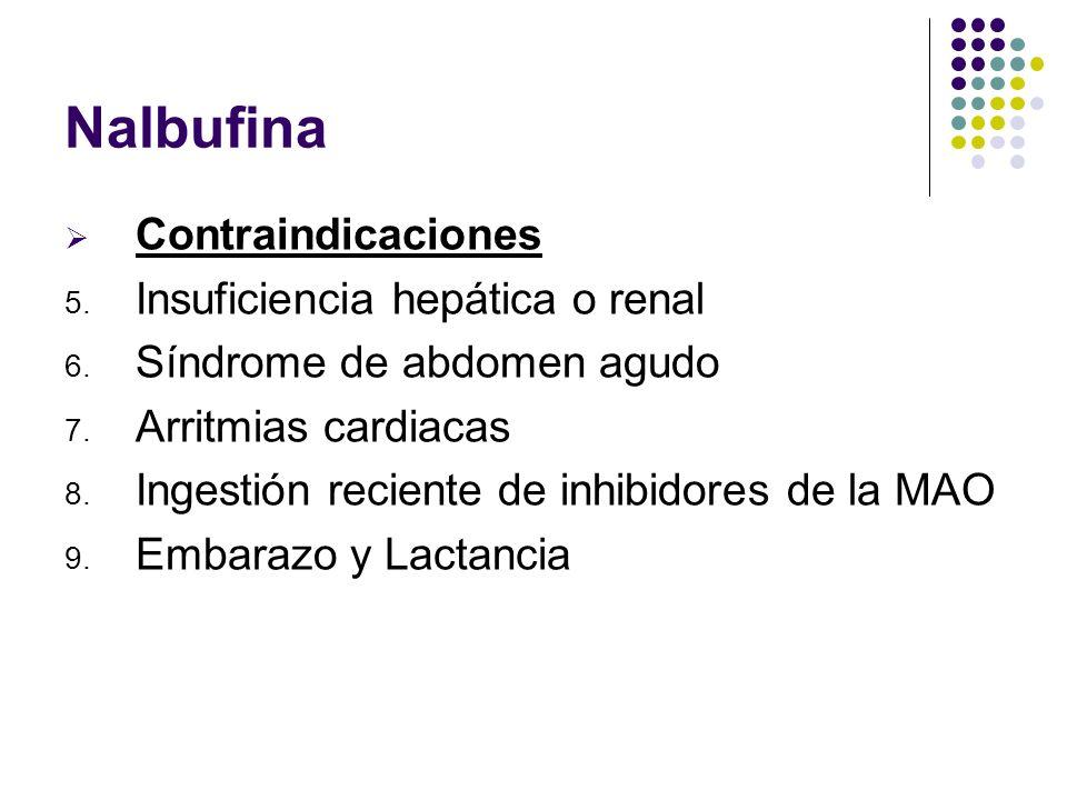 Nalbufina Contraindicaciones Insuficiencia hepática o renal