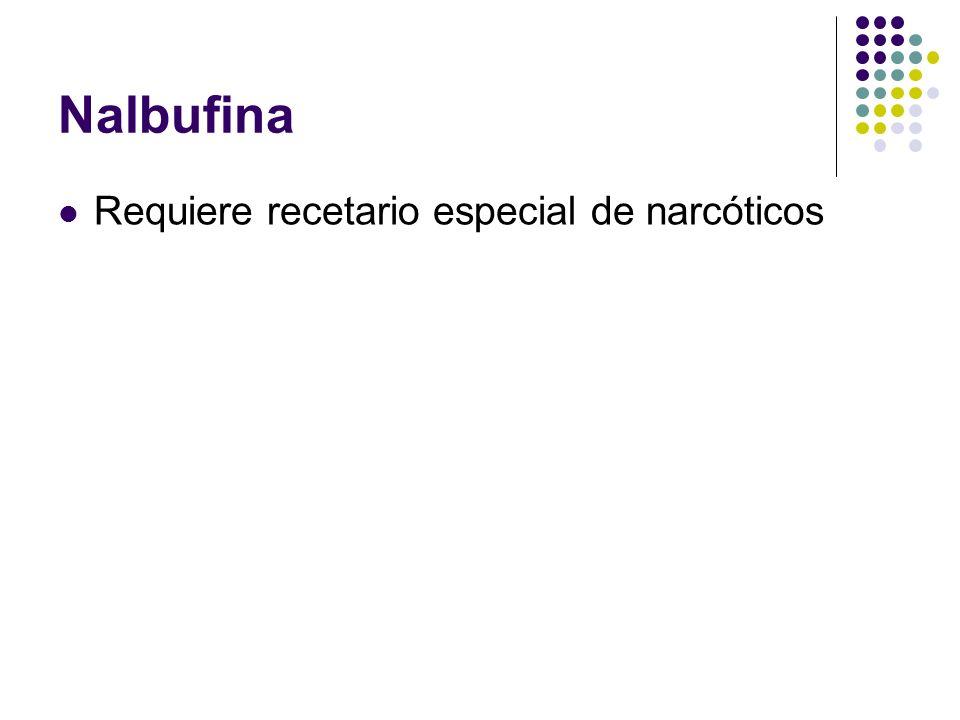 Nalbufina Requiere recetario especial de narcóticos