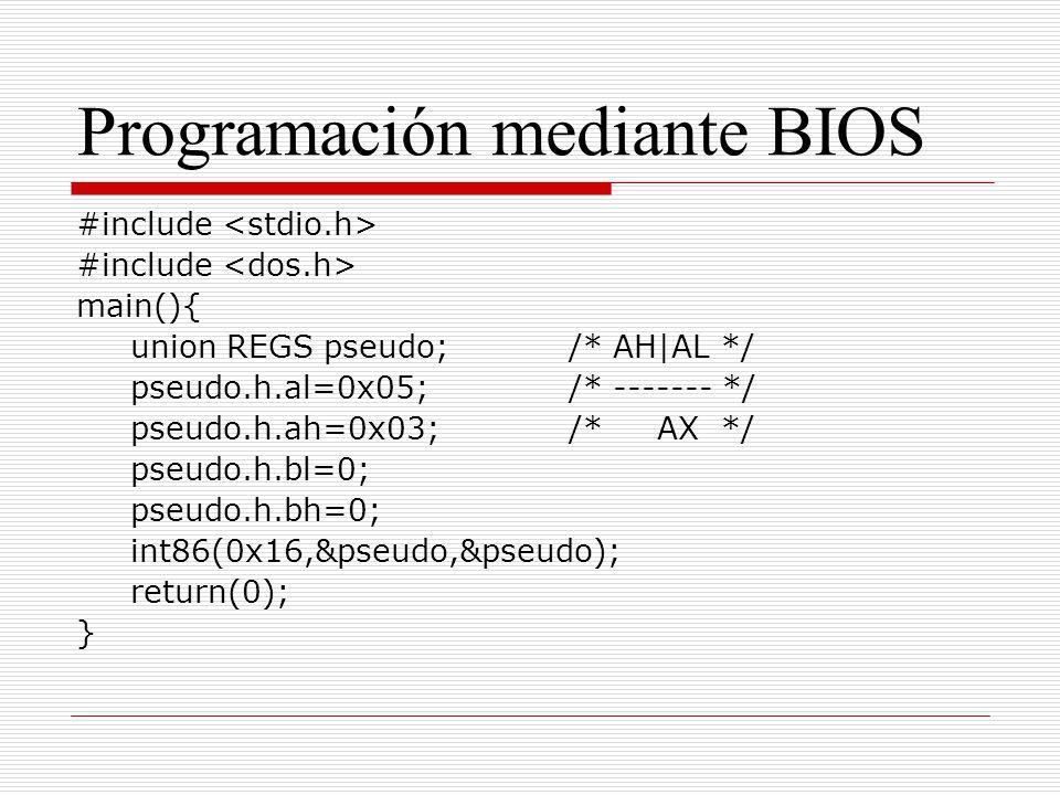 Programación mediante BIOS