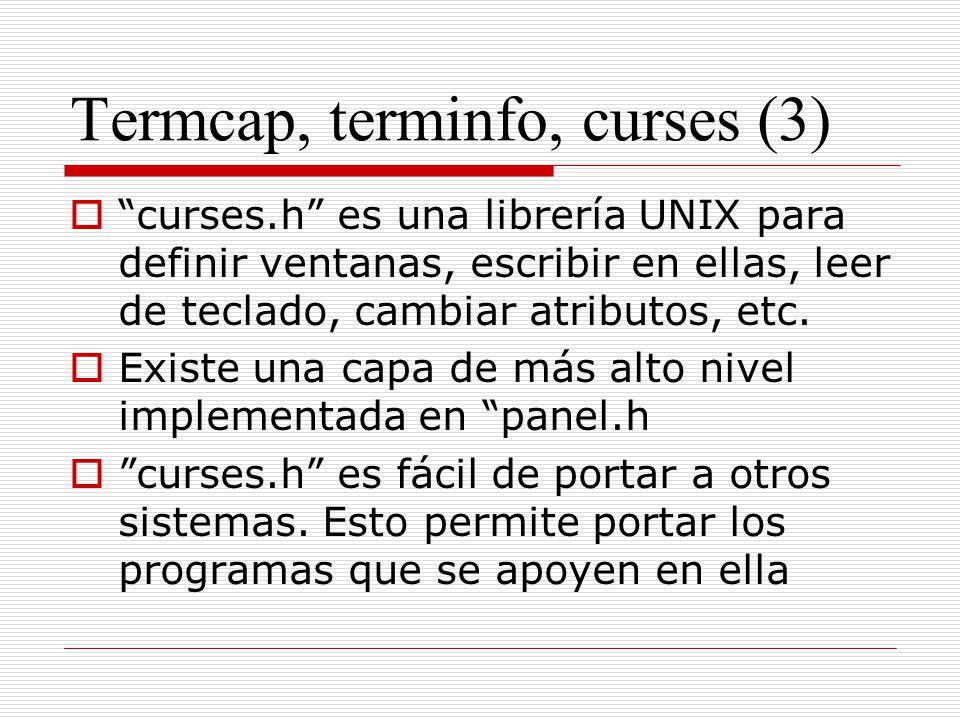 Termcap, terminfo, curses (3)