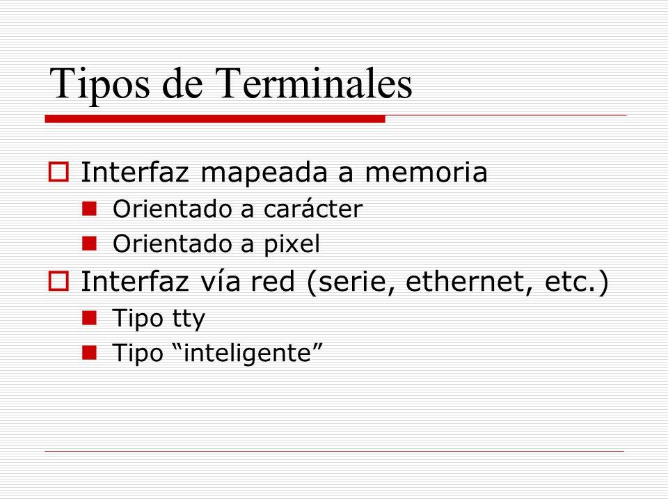 Tipos de Terminales Interfaz mapeada a memoria