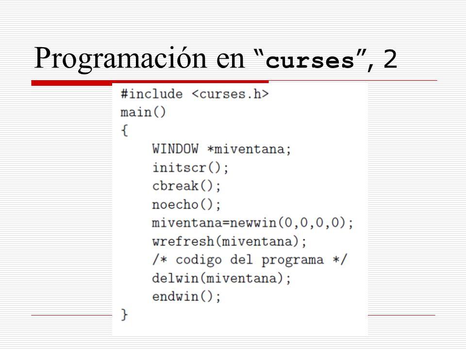 Programación en curses , 2