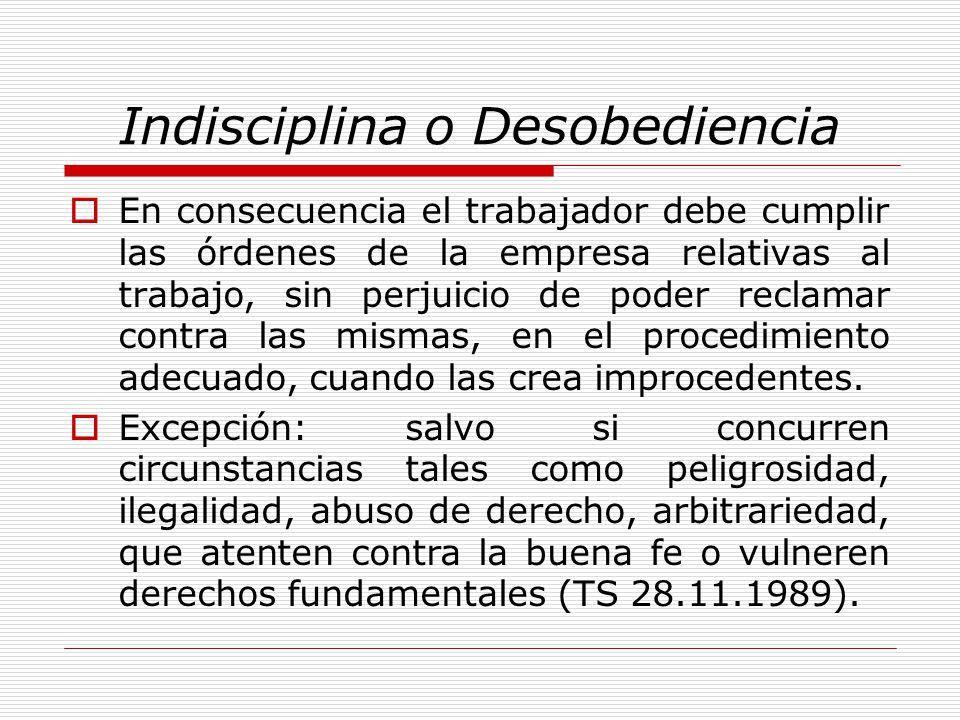 Indisciplina o Desobediencia