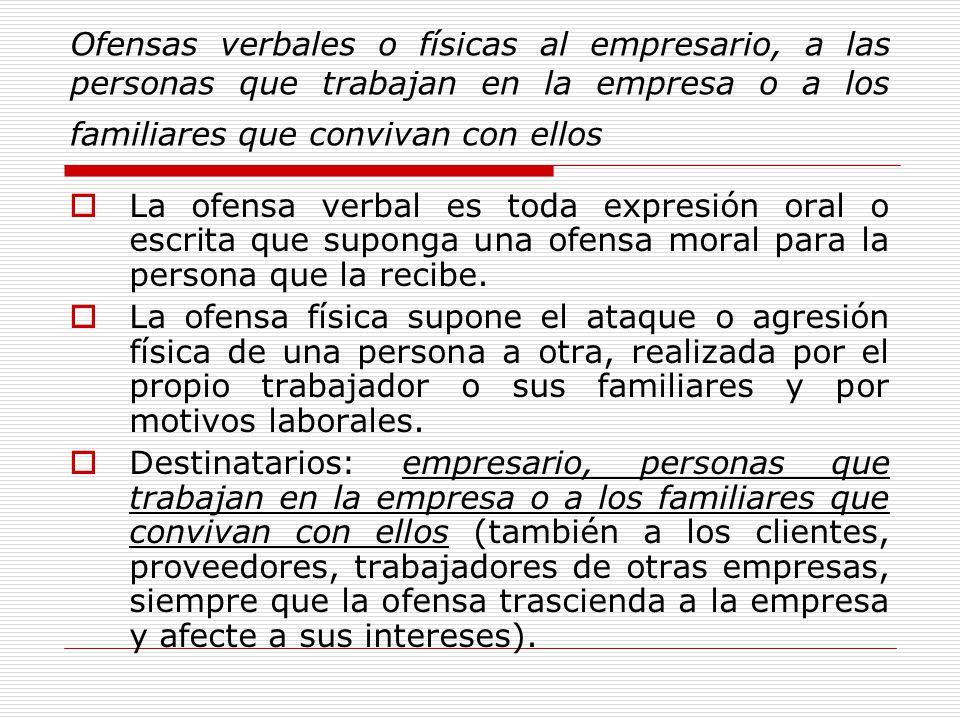 Ofensas verbales o físicas al empresario, a las personas que trabajan en la empresa o a los familiares que convivan con ellos