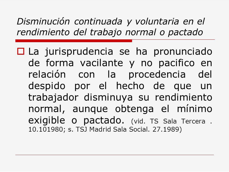 Disminución continuada y voluntaria en el rendimiento del trabajo normal o pactado