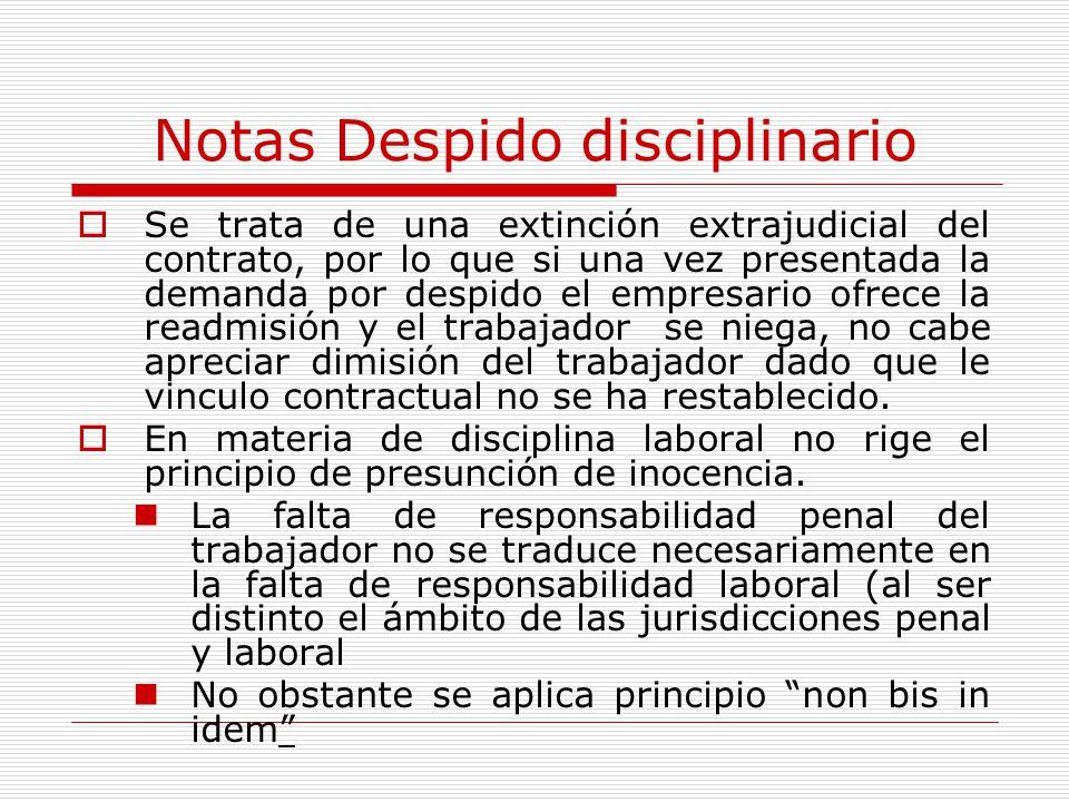 Notas Despido disciplinario