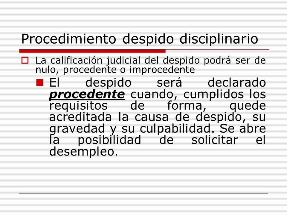 Procedimiento despido disciplinario
