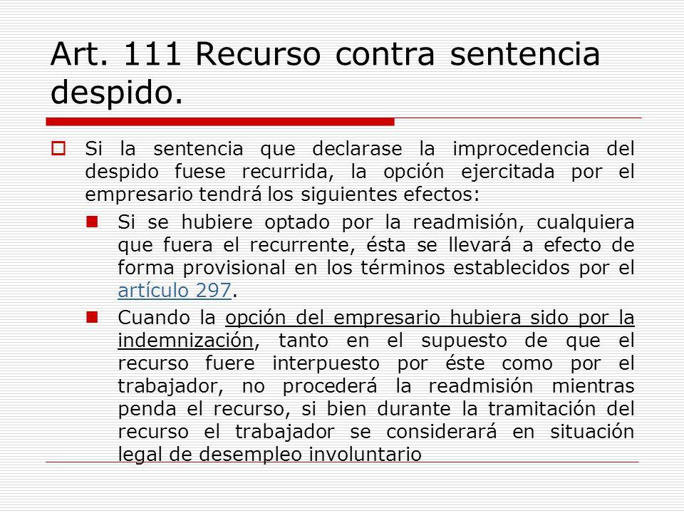 Art. 111 Recurso contra sentencia despido.