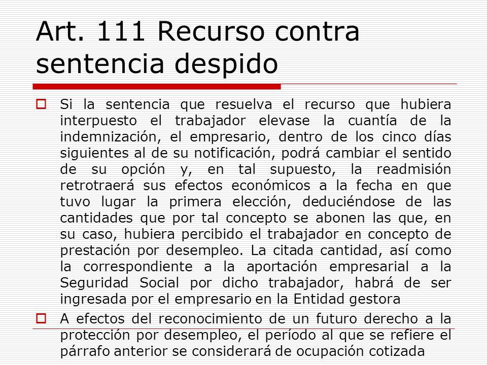 Art. 111 Recurso contra sentencia despido