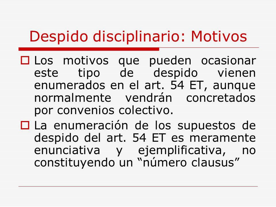 Despido disciplinario: Motivos