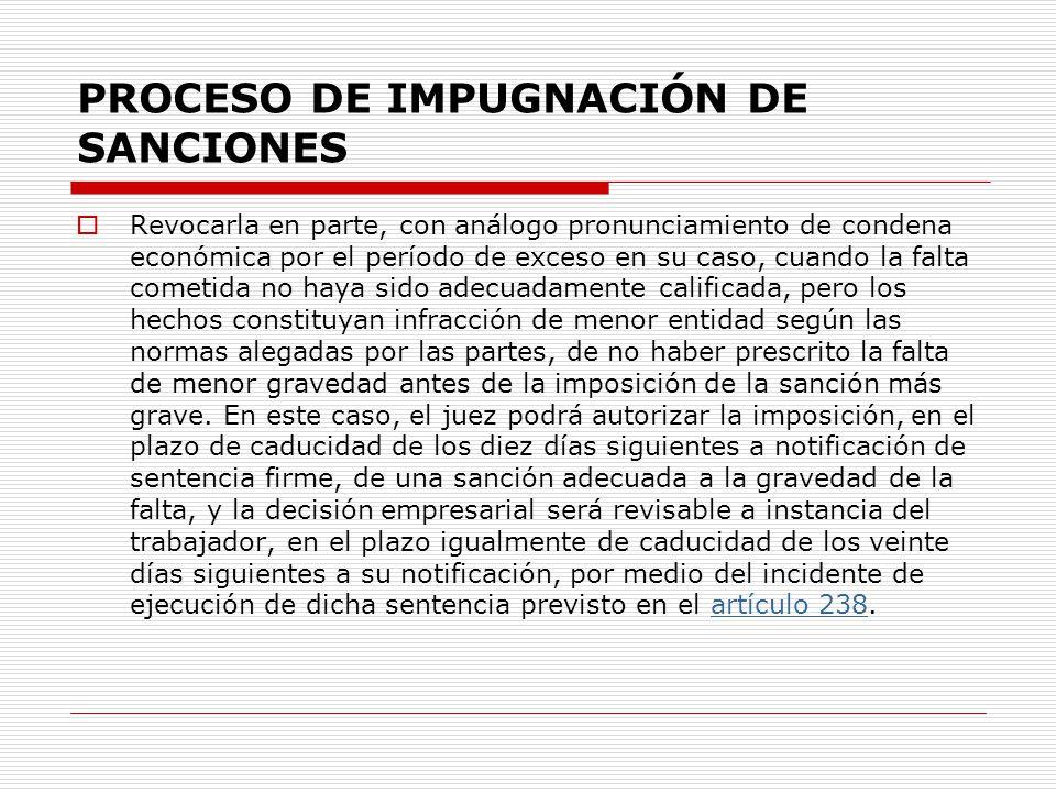 PROCESO DE IMPUGNACIÓN DE SANCIONES