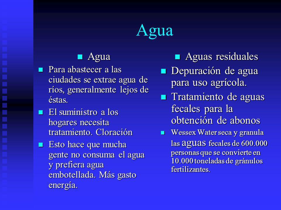Agua Agua Aguas residuales Depuración de agua para uso agrícola.