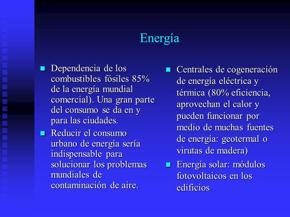 Energía Dependencia de los combustibles fósiles 85% de la energía mundial comercial). Una gran parte del consumo se da en y para las ciudades.