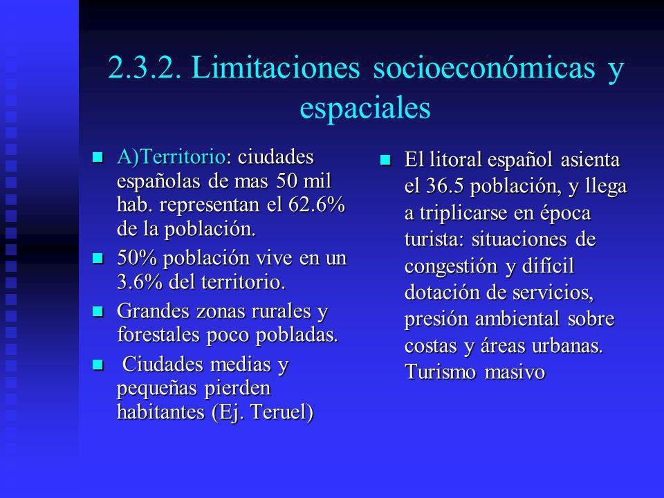 2.3.2. Limitaciones socioeconómicas y espaciales