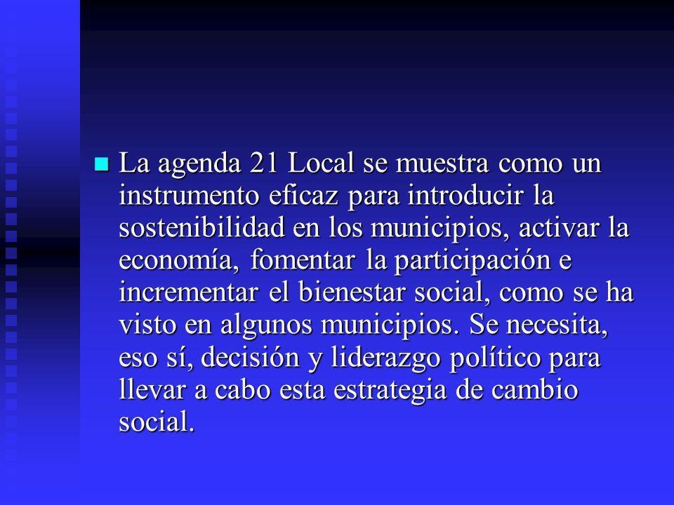 La agenda 21 Local se muestra como un instrumento eficaz para introducir la sostenibilidad en los municipios, activar la economía, fomentar la participación e incrementar el bienestar social, como se ha visto en algunos municipios.
