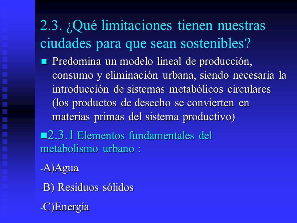 2.3. ¿Qué limitaciones tienen nuestras ciudades para que sean sostenibles