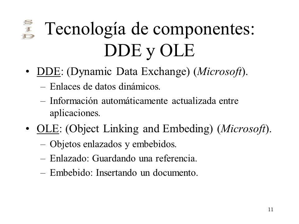 Tecnología de componentes: DDE y OLE