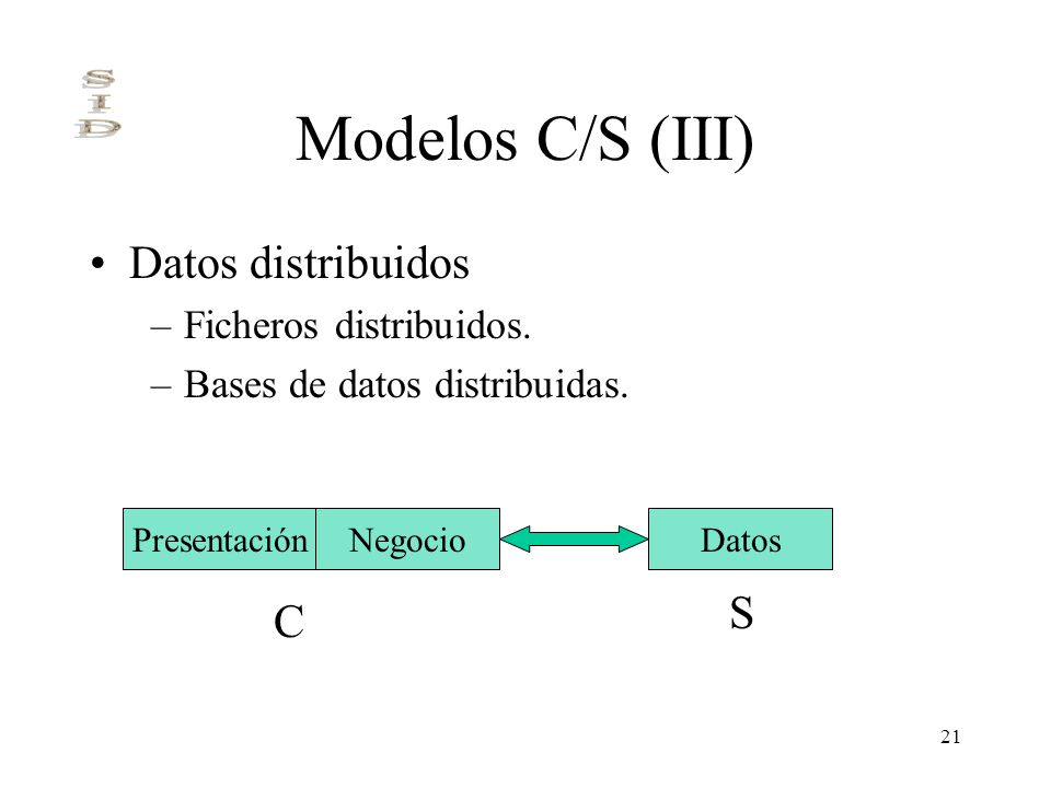 Modelos C/S (III) Datos distribuidos S C Ficheros distribuidos.