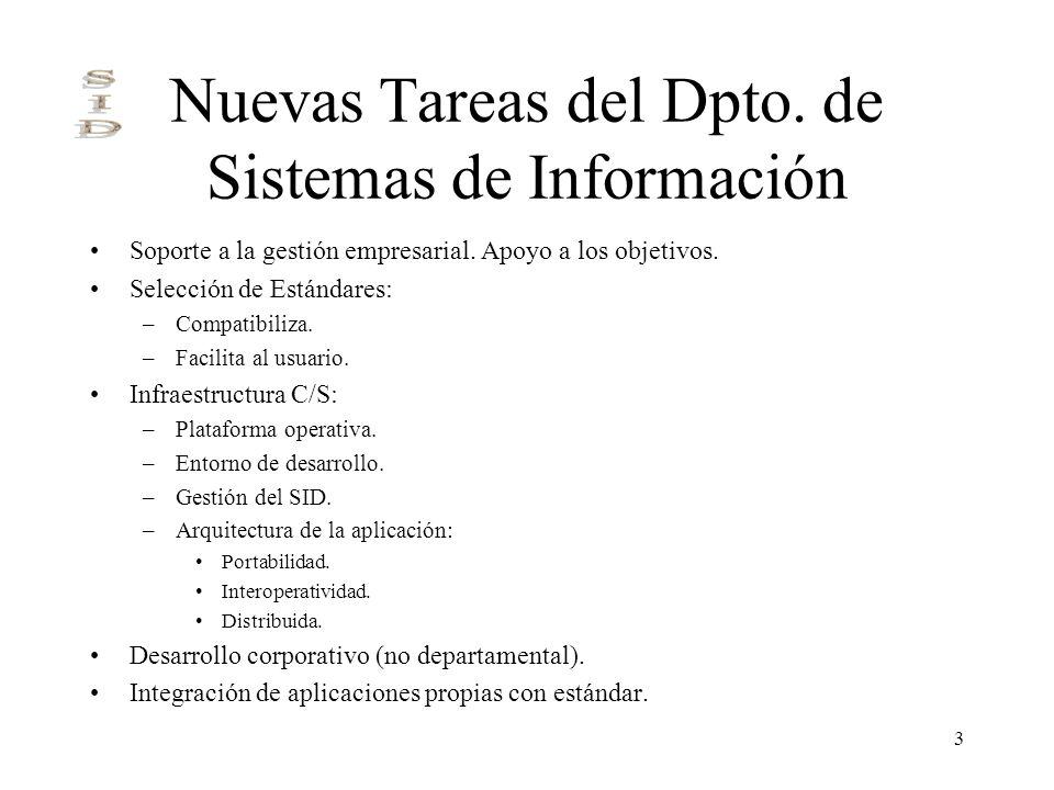 Nuevas Tareas del Dpto. de Sistemas de Información